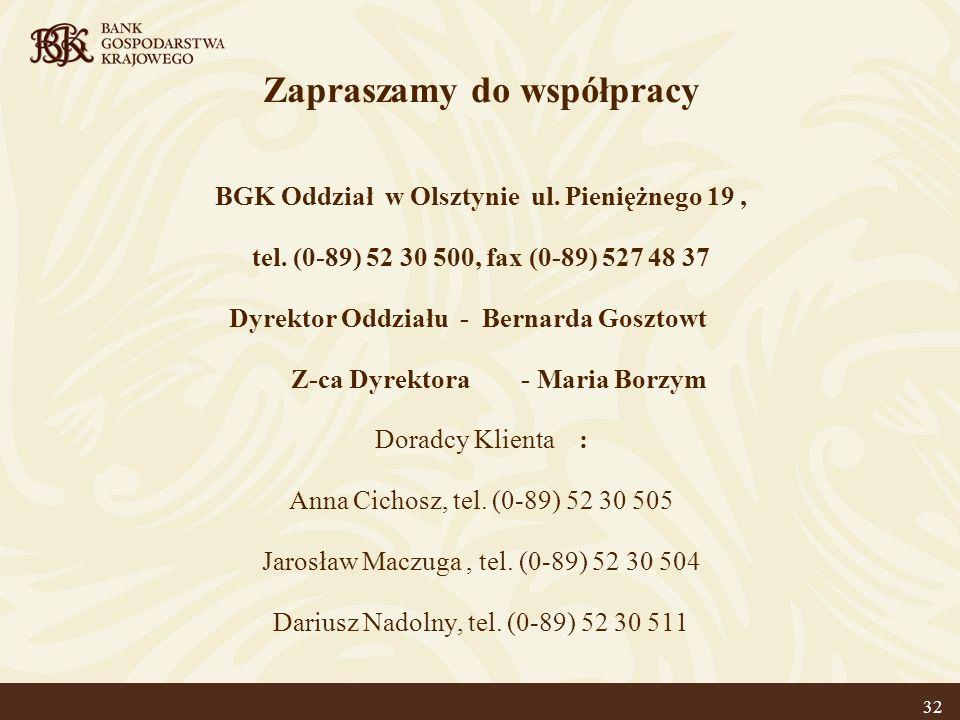 Zapraszamy do współpracy BGK Oddział w Olsztynie ul. Pieniężnego 19, tel. (0-89) 52 30 500, fax (0-89) 527 48 37 Dyrektor Oddziału - Bernarda Gosztowt