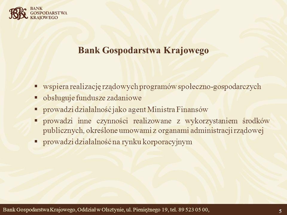 5 Bank Gospodarstwa Krajowego wspiera realizację rządowych programów społeczno-gospodarczych obsługuje fundusze zadaniowe prowadzi działalność jako ag