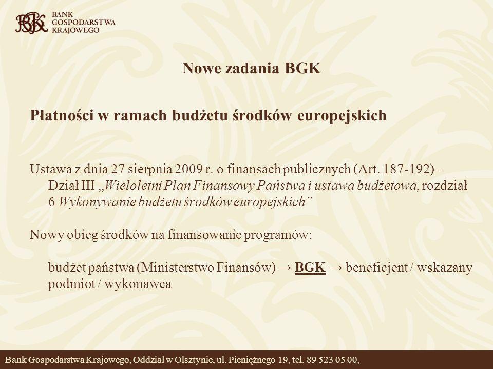 Nowe zadania BGK Płatności w ramach budżetu środków europejskich Ustawa z dnia 27 sierpnia 2009 r. o finansach publicznych (Art. 187-192) – Dział III