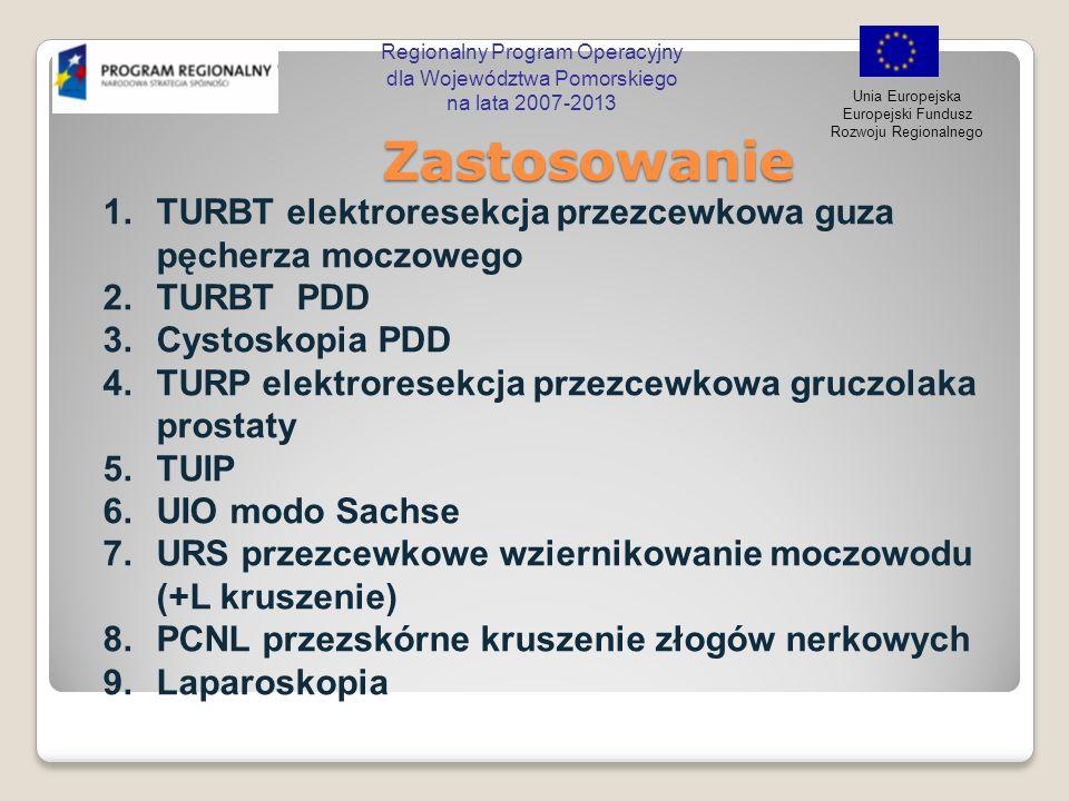 Regionalny Program Operacyjny dla Województwa Pomorskiego na lata 2007-2013 Unia Europejska Europejski Fundusz Rozwoju Regionalnego Zastosowanie Zasto