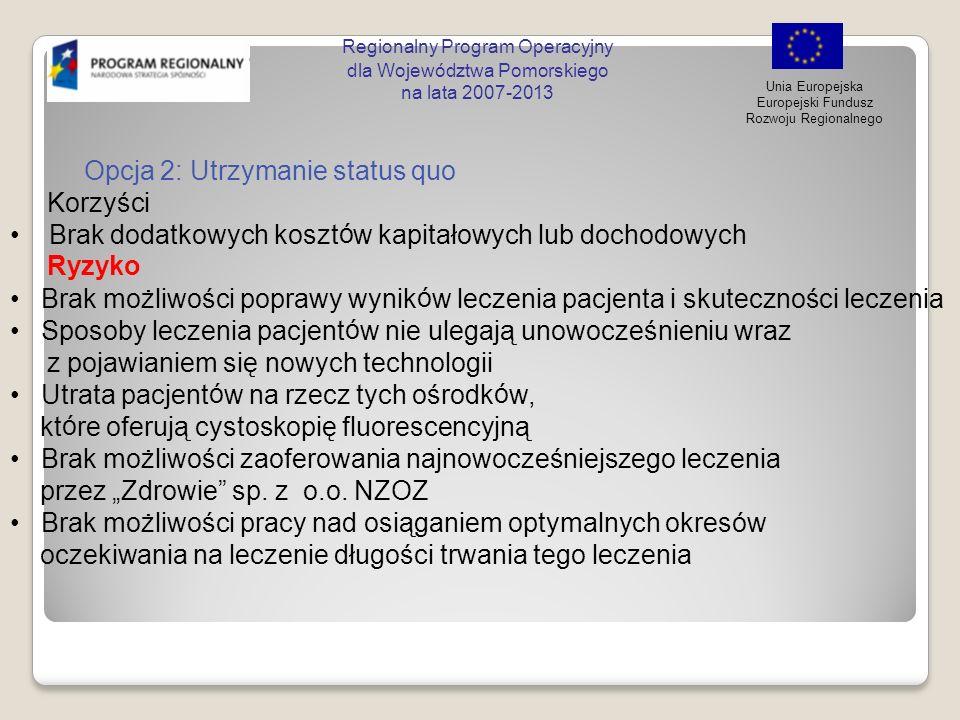 Regionalny Program Operacyjny dla Województwa Pomorskiego na lata 2007-2013 Unia Europejska Europejski Fundusz Rozwoju Regionalnego Opcja 2: Utrzymani