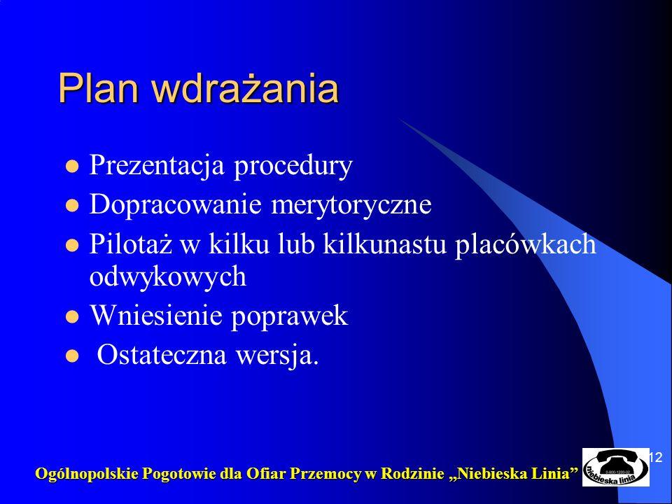 12 Plan wdrażania Prezentacja procedury Dopracowanie merytoryczne Pilotaż w kilku lub kilkunastu placówkach odwykowych Wniesienie poprawek Ostateczna