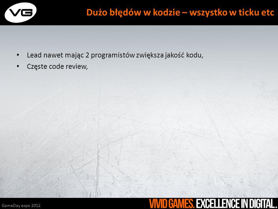 Lead nawet mając 2 programistów zwiększa jakość kodu, Częste code review, GameDay expo 2012 Dużo błędów w kodzie – wszystko w ticku etc
