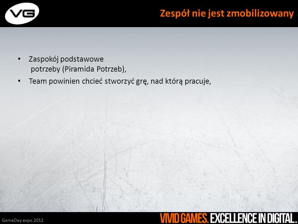 Zaspokój podstawowe potrzeby (Piramida Potrzeb), Team powinien chcieć stworzyć grę, nad którą pracuje, GameDay expo 2012 Zespół nie jest zmobilizowany