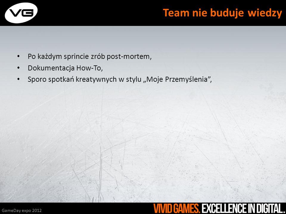Po każdym sprincie zrób post-mortem, Dokumentacja How-To, Sporo spotkań kreatywnych w stylu Moje Przemyślenia, GameDay expo 2012 Team nie buduje wiedz