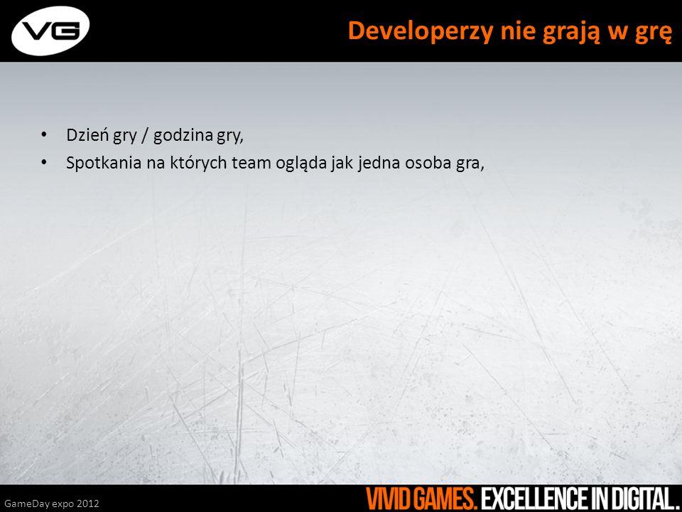 Dzień gry / godzina gry, Spotkania na których team ogląda jak jedna osoba gra, GameDay expo 2012 Developerzy nie grają w grę