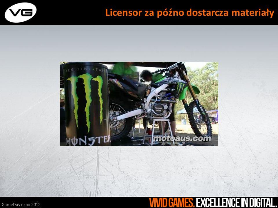 GameDay expo 2012 Licensor za późno dostarcza materiały