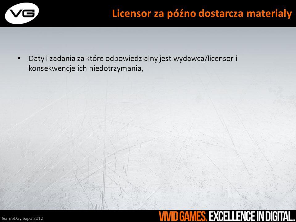 Daty i zadania za które odpowiedzialny jest wydawca/licensor i konsekwencje ich niedotrzymania, GameDay expo 2012 Licensor za późno dostarcza materiał