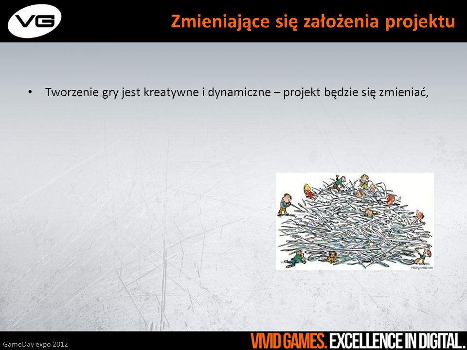 Tworzenie gry jest kreatywne i dynamiczne – projekt będzie się zmieniać, GameDay expo 2012 Zmieniające się założenia projektu \