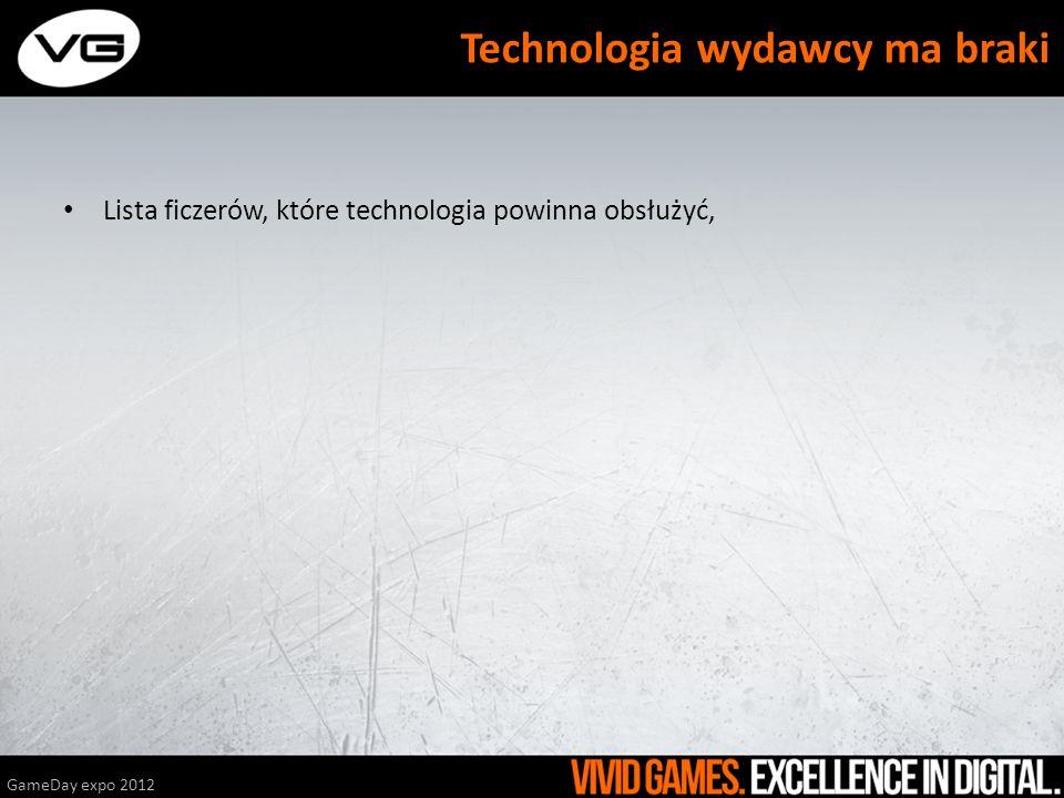 Lista ficzerów, które technologia powinna obsłużyć, GameDay expo 2012 Technologia wydawcy ma braki
