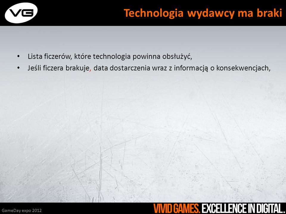 Lista ficzerów, które technologia powinna obsłużyć, Jeśli ficzera brakuje, data dostarczenia wraz z informacją o konsekwencjach, GameDay expo 2012 Tec