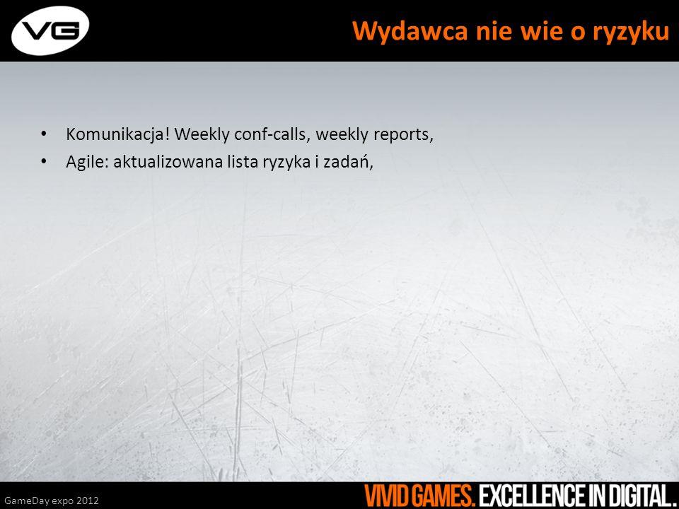 Komunikacja! Weekly conf-calls, weekly reports, Agile: aktualizowana lista ryzyka i zadań, GameDay expo 2012 Wydawca nie wie o ryzyku