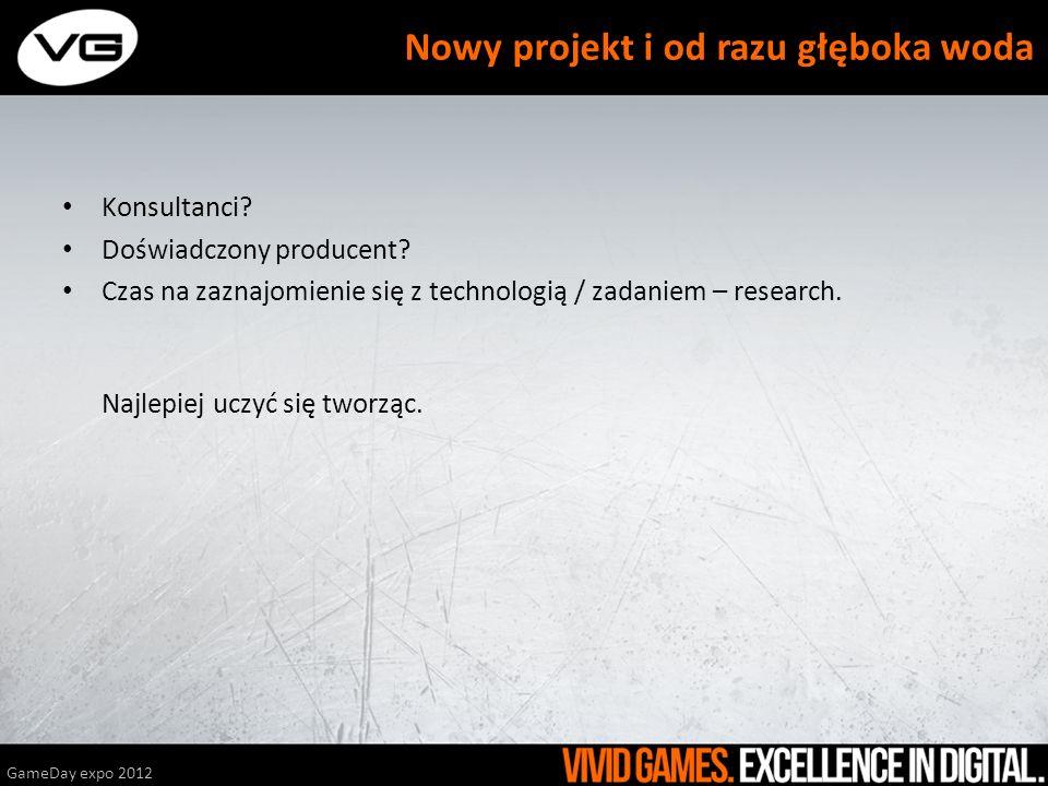 Konsultanci? Doświadczony producent? Czas na zaznajomienie się z technologią / zadaniem – research. Najlepiej uczyć się tworząc. GameDay expo 2012 Now