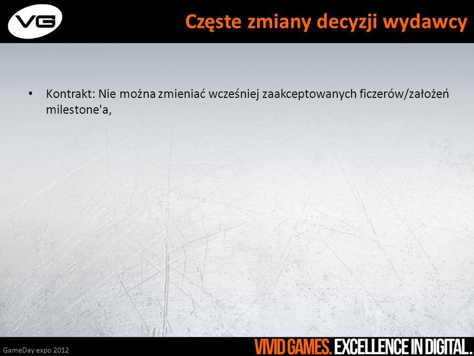 Kontrakt: Nie można zmieniać wcześniej zaakceptowanych ficzerów/założeń milestone a, Kontrakt: Dodatkowe milestone y: Design Freeze i Implementation Freeze, GameDay expo 2012 Częste zmiany decyzji wydawcy