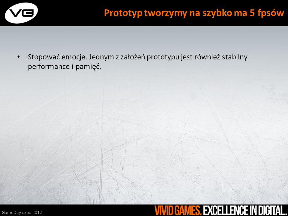 Stopować emocje. Jednym z założeń prototypu jest również stabilny performance i pamięć, GameDay expo 2012 Prototyp tworzymy na szybko ma 5 fpsów