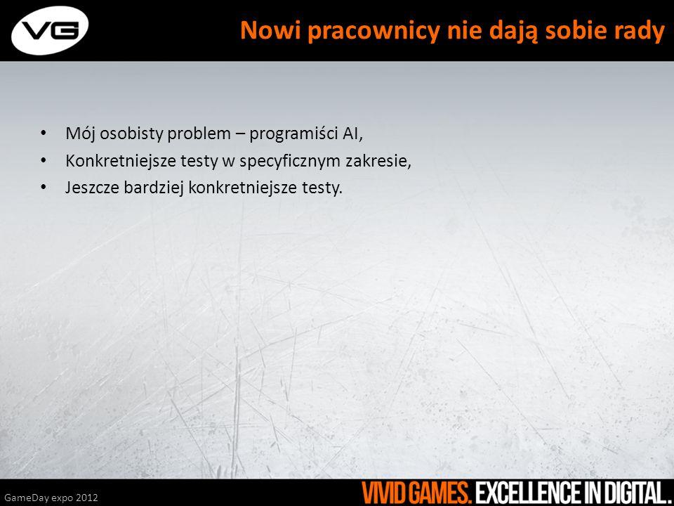 Mój osobisty problem – programiści AI, Konkretniejsze testy w specyficznym zakresie, Jeszcze bardziej konkretniejsze testy. GameDay expo 2012 Nowi pra