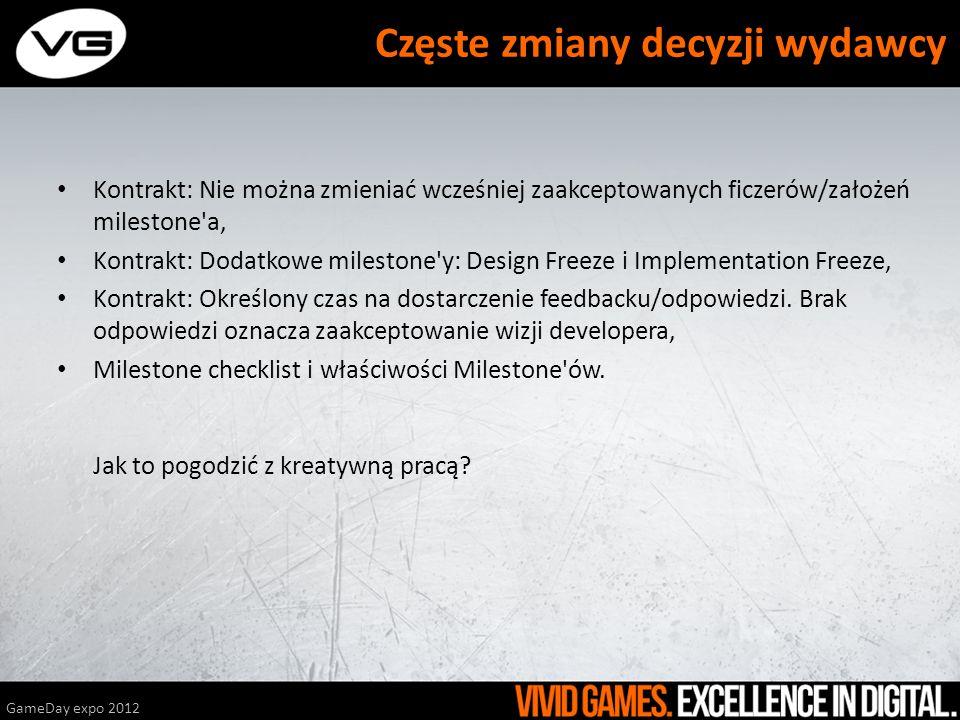 Trzymać się planu, zmniejszać emocje, Zostawiać ficzery na następne etapy, GameDay expo 2012 Prawo murphyego w dniu terminu