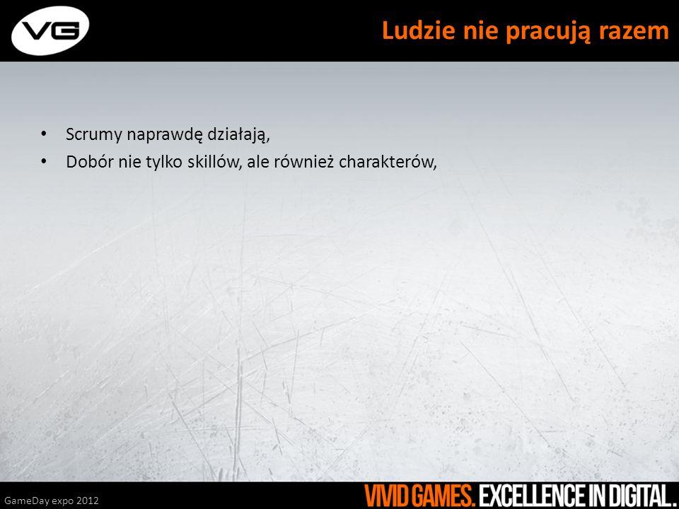 Scrumy naprawdę działają, Dobór nie tylko skillów, ale również charakterów, GameDay expo 2012 Ludzie nie pracują razem