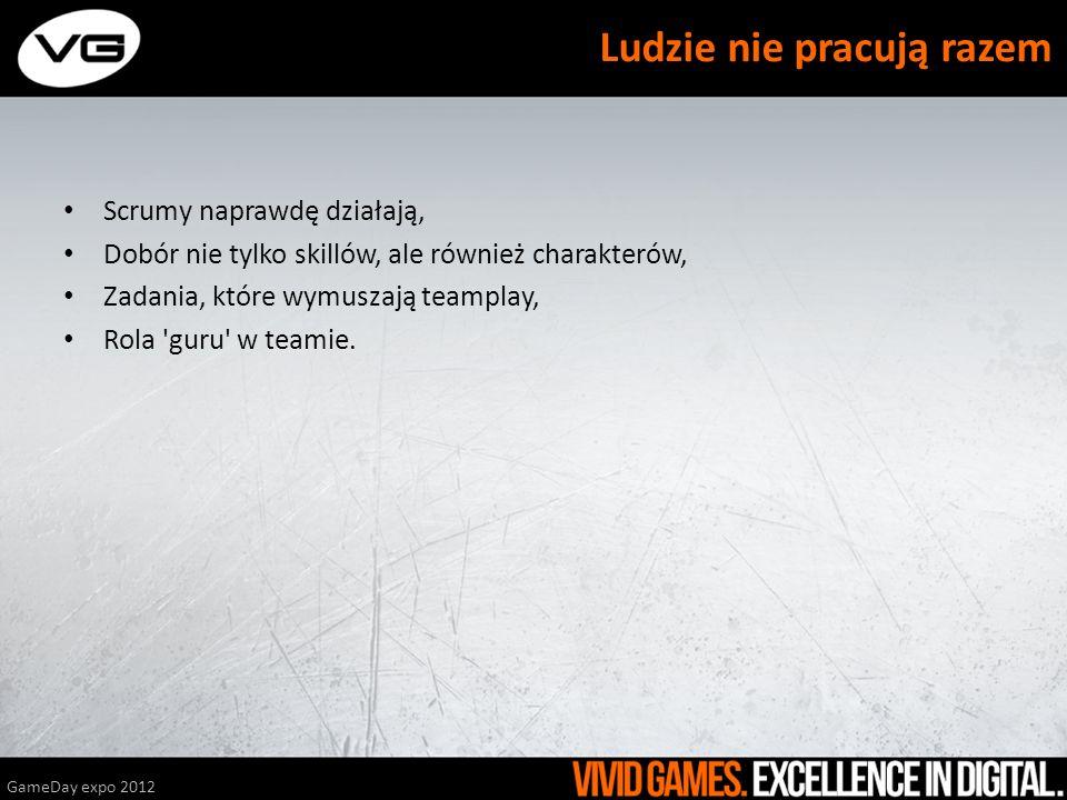 Scrumy naprawdę działają, Dobór nie tylko skillów, ale również charakterów, Zadania, które wymuszają teamplay, Rola 'guru' w teamie. GameDay expo 2012