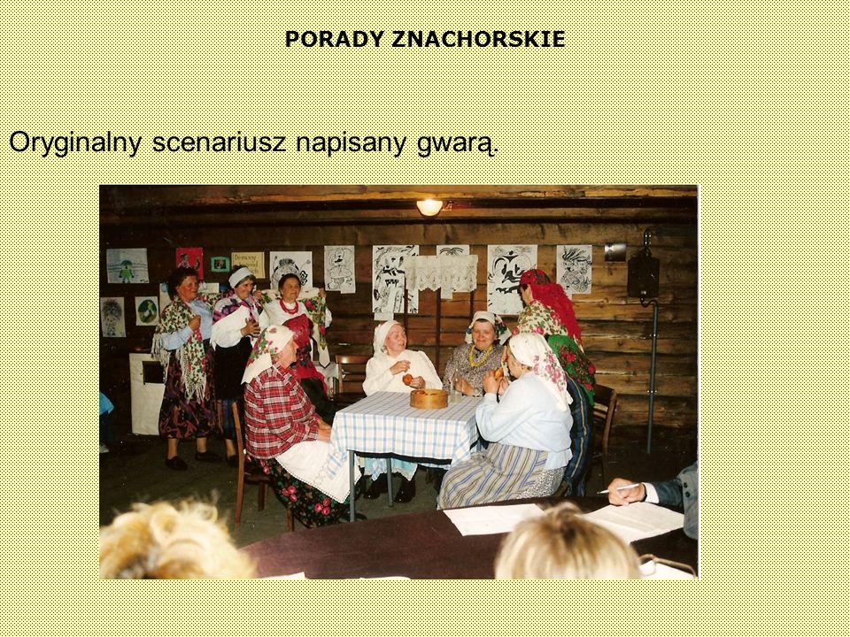 Porady znachorskie ( Inscenizacja przedstawienia ludowego pisanego gwarą kluczewską ) W chałupie u Cirnioków, dziewczęta przebierają fasolę i śpiewają piosenkę pt.