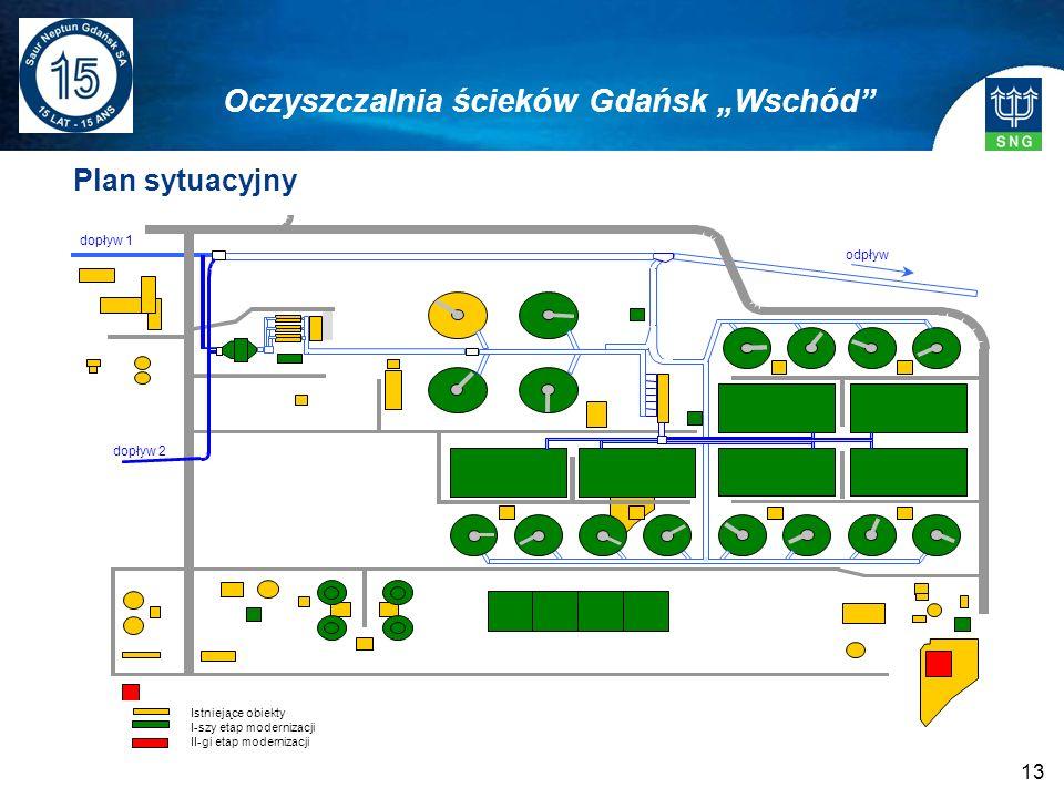 13 Plan sytuacyjny Oczyszczalnia ścieków Gdańsk Wschód Istniejące obiekty I-szy etap modernizacji II-gi etap modernizacji
