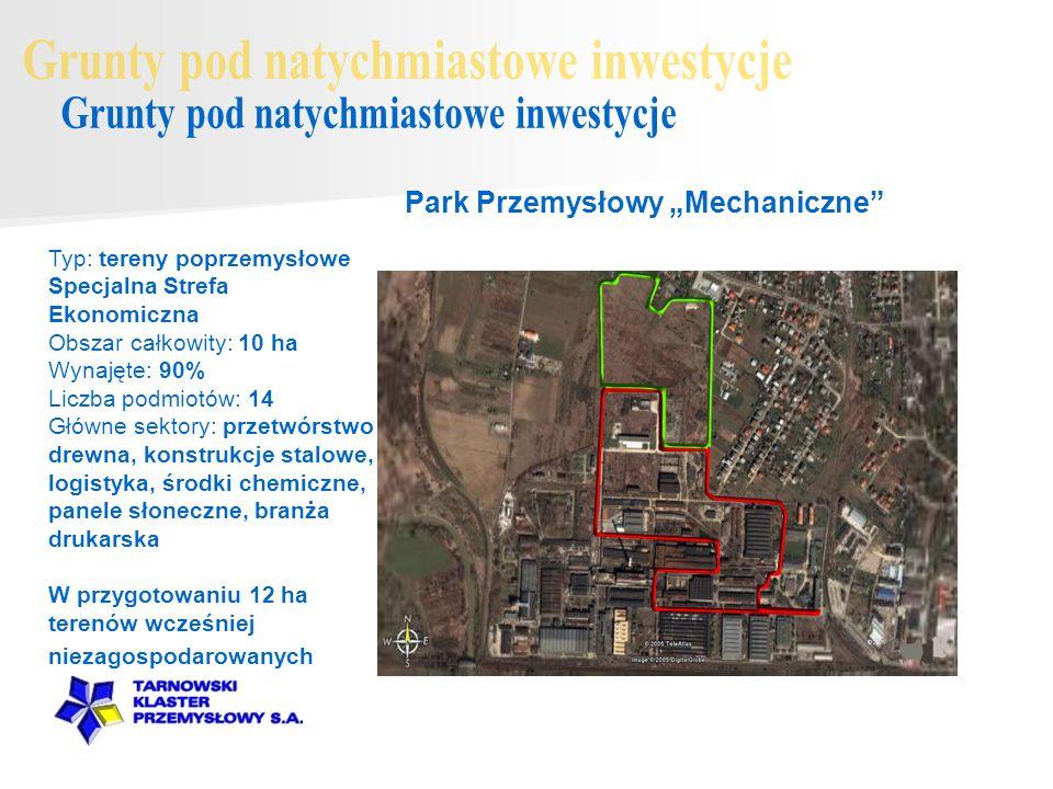 Typ: tereny poprzemysłowe Specjalna Strefa Ekonomiczna Obszar całkowity: 10 ha Wynajęte: 90% Liczba podmiotów: 14 Główne sektory: przetwórstwo drewna,