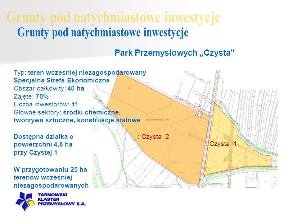 Dostępna działka o powierzchni 4,8 ha przy Czystej 1 Park Przemysłowych Czysta : Czysta 2 : Czysta 1 W przygotowaniu 25 ha terenów wcześniej niezagosp