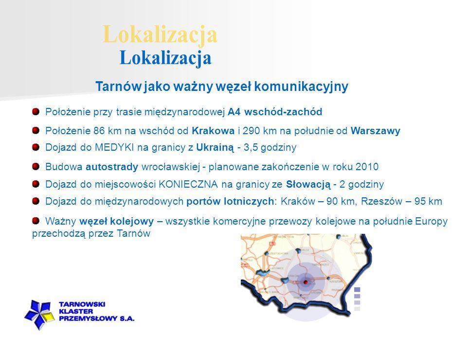 Tarnów jako ważny węzeł komunikacyjny Dojazd do międzynarodowych portów lotniczych: Kraków – 90 km, Rzeszów – 95 km Położenie 86 km na wschód od Krako