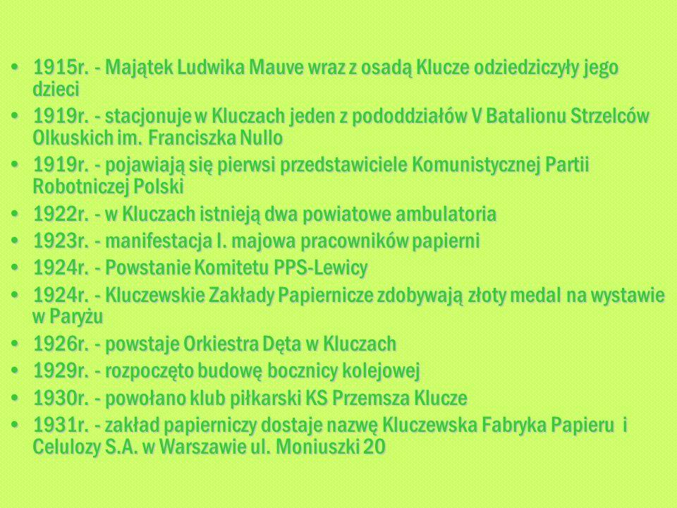 1915r. - Majątek Ludwika Mauve wraz z osadą Klucze odziedziczyły jego dzieci1915r. - Majątek Ludwika Mauve wraz z osadą Klucze odziedziczyły jego dzie