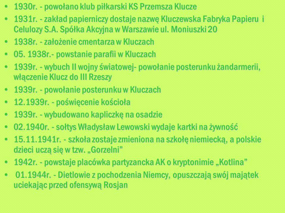 1930r. - powołano klub piłkarski KS Przemsza Klucze1930r. - powołano klub piłkarski KS Przemsza Klucze 1931r. - zakład papierniczy dostaje nazwę Klucz