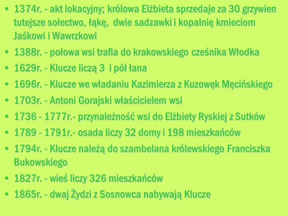 1374r. - akt lokacyjny; królowa Elżbieta sprzedaje za 30 grzywien tutejsze sołectwo, łąkę, dwie sadzawki i kopalnię kmieciom Jaśkowi i Wawrzkowi1374r.
