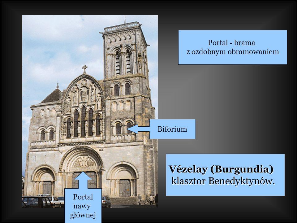 Vézelay (Burgundia) klasztor Benedyktynów. klasztor Benedyktynów. Biforium Portal nawy głównej Portal - brama z ozdobnym obramowaniem