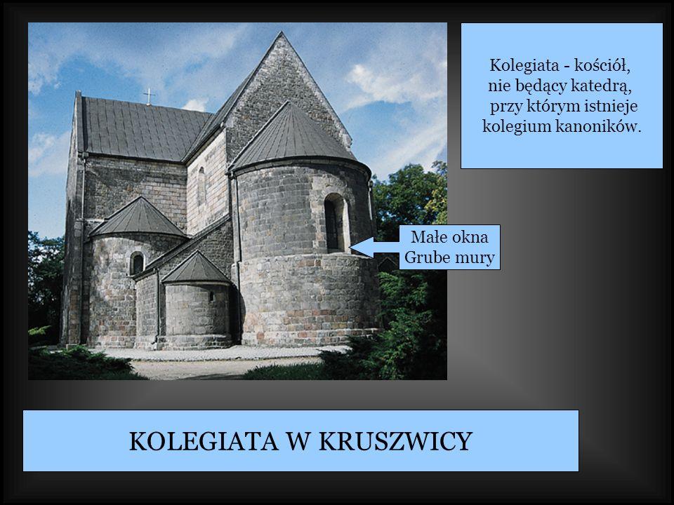KOLEGIATA W KRUSZWICY Małe okna Grube mury Kolegiata - kościół, nie będący katedrą, przy którym istnieje kolegium kanoników.
