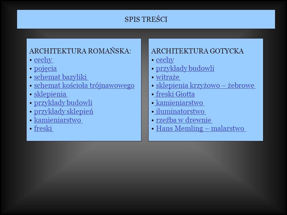 SPIS TREŚCI ARCHITEKTURA ROMAŃSKA: cechy pojęcia schemat bazyliki schemat kościoła trójnawowego sklepienia przykłady budowli przykłady sklepień kamien