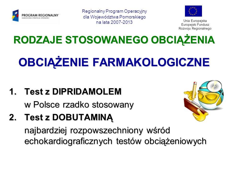 RODZAJE STOSOWANEGO OBCIĄŻENIA OBCIĄŻENIE FARMAKOLOGICZNE 1.Test z DIPRIDAMOLEM w Polsce rzadko stosowany 2.Test z DOBUTAMINĄ najbardziej rozpowszechn