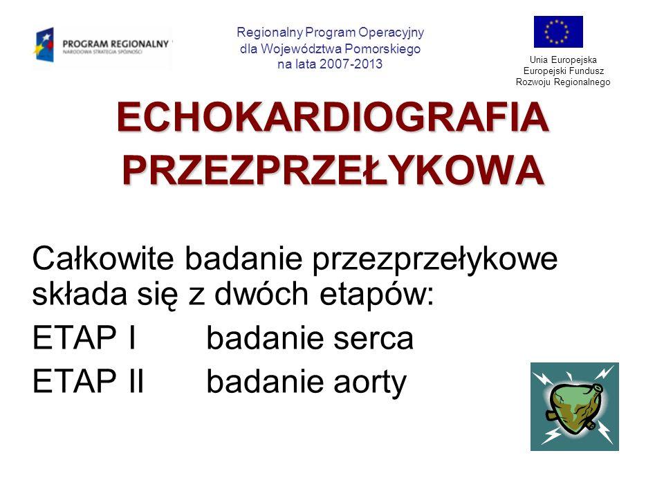 ECHOKARDIOGRAFIAPRZEZPRZEŁYKOWA Całkowite badanie przezprzełykowe składa się z dwóch etapów: ETAP Ibadanie serca ETAP IIbadanie aorty Regionalny Progr