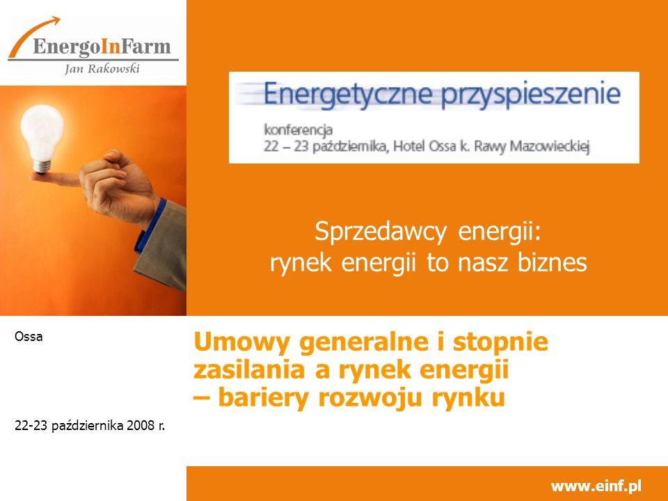 www.einf.pl 22-23 października 2008 r.Ossa 2 Tematy (1/1) Sprzedawco energii jaki jesteś.