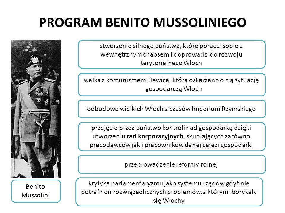 PROGRAM BENITO MUSSOLINIEGO Benito Mussolini krytyka parlamentaryzmu jako systemu rządów gdyż nie potrafił on rozwiązać licznych problemów, z którymi