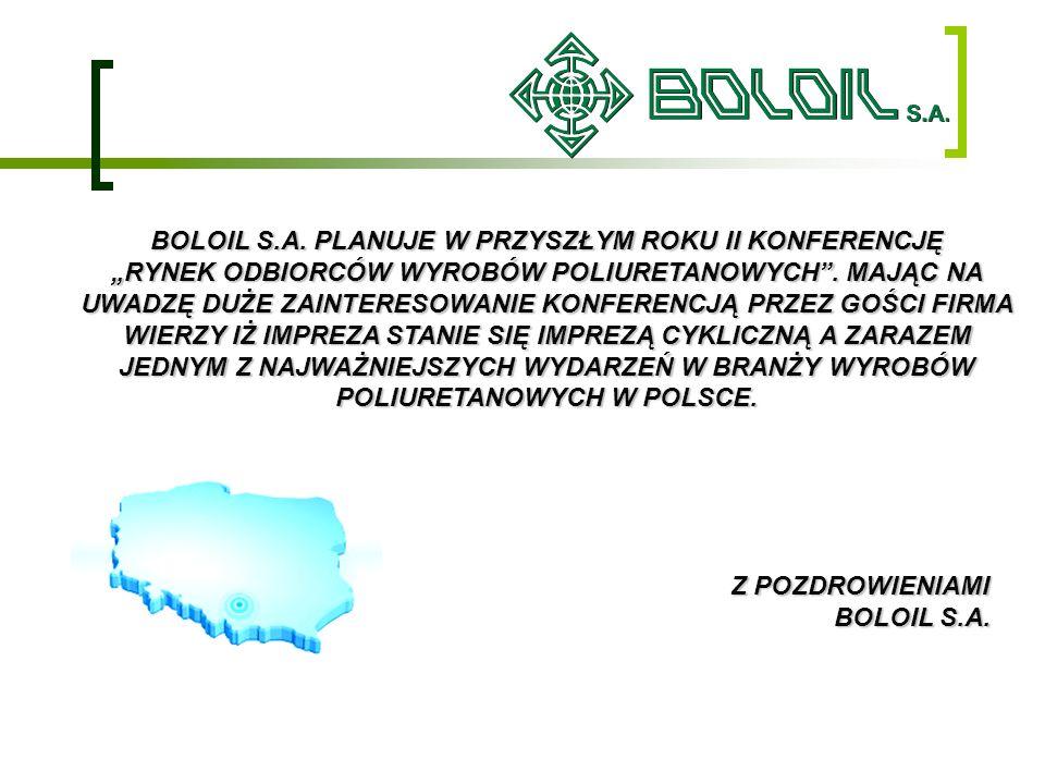 BOLOIL S.A. PLANUJE W PRZYSZŁYM ROKU II KONFERENCJĘ RYNEK ODBIORCÓW WYROBÓW POLIURETANOWYCH. MAJĄC NA UWADZĘ DUŻE ZAINTERESOWANIE KONFERENCJĄ PRZEZ GO