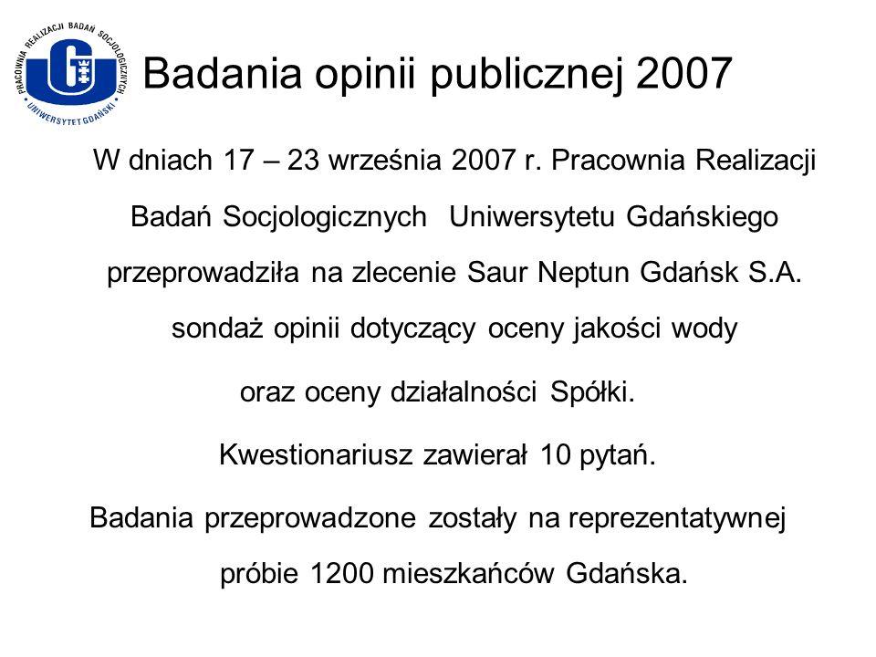 Badania opinii publicznej 2007 W dniach 17 – 23 września 2007 r. Pracownia Realizacji Badań Socjologicznych Uniwersytetu Gdańskiego przeprowadziła na