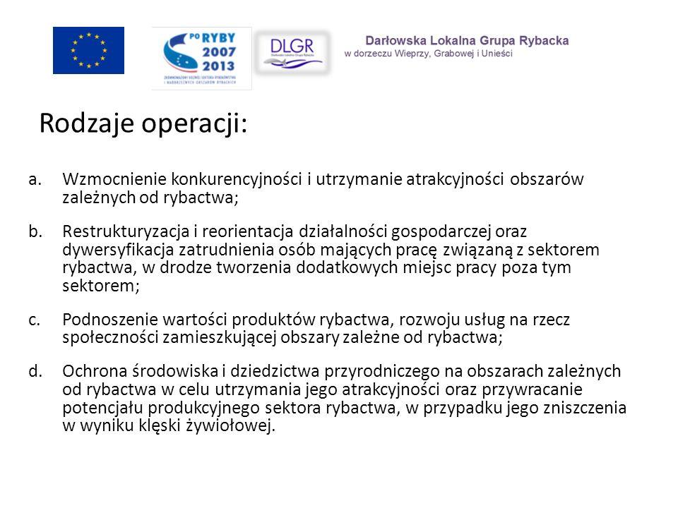 a.Wzmocnienie konkurencyjności i utrzymanie atrakcyjności obszarów zależnych od rybactwa; b.Restrukturyzacja i reorientacja działalności gospodarczej