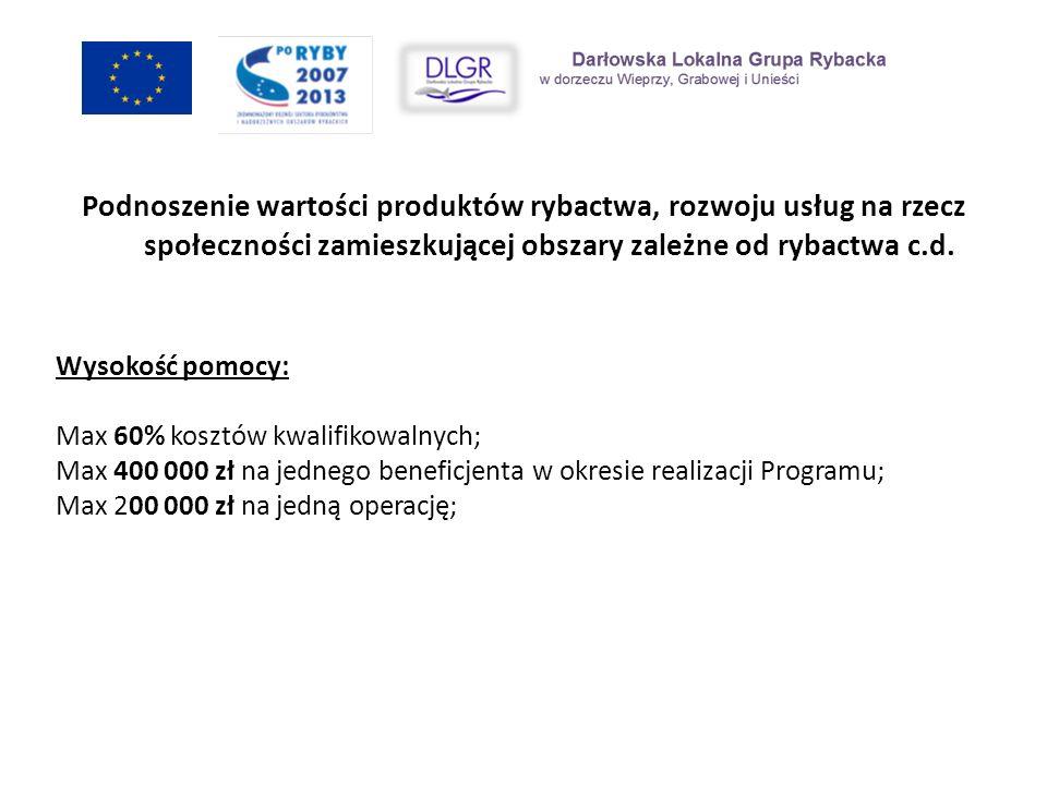 Wysokość pomocy: Max 60% kosztów kwalifikowalnych; Max 400 000 zł na jednego beneficjenta w okresie realizacji Programu; Max 200 000 zł na jedną opera