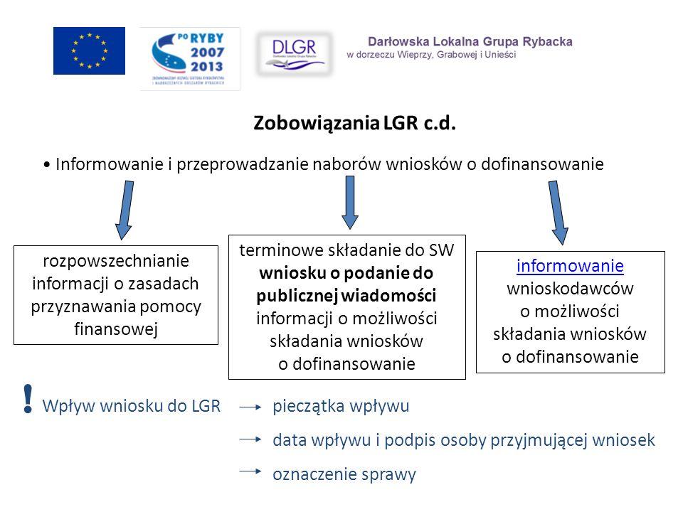 Zobowiązania LGR c.d. Wpływ wniosku do LGR pieczątka wpływu data wpływu i podpis osoby przyjmującej wniosek oznaczenie sprawy Informowanie i przeprowa