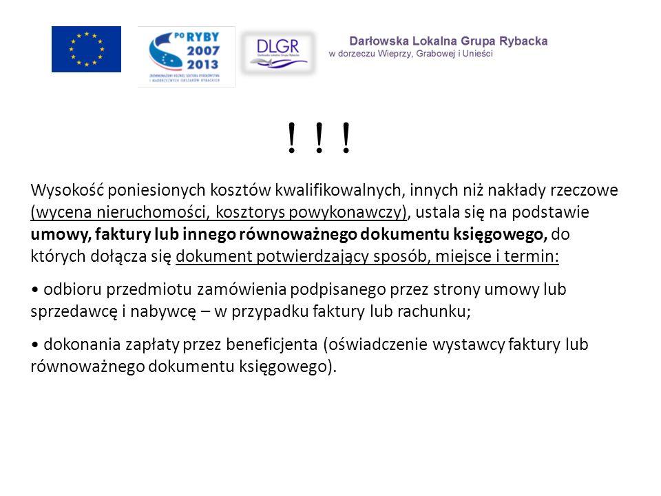 Opisywanie faktur/równoważnych dokumentów księgowych Na odwrocie faktury/innego dokumentu o równoważnej wartości dowodowej zaleca się umieszczenie opisu wg poniższego wzoru: Koszty związane z realizacją projektu………………………..(tytuł projektu), w ramach Programu Operacyjnego Zrównoważony rozwój sektora rybołówstwa i nadbrzeżnych obszarów rybackich 2007-2013 na lata 2007-2013 zgodnie z umową o dofinansowanie nr…………… (nr zawartej umowy o dofinansowanie w ramach, której składana jest dana faktura/ dokumentu o równoważnej wartości dowodowej).