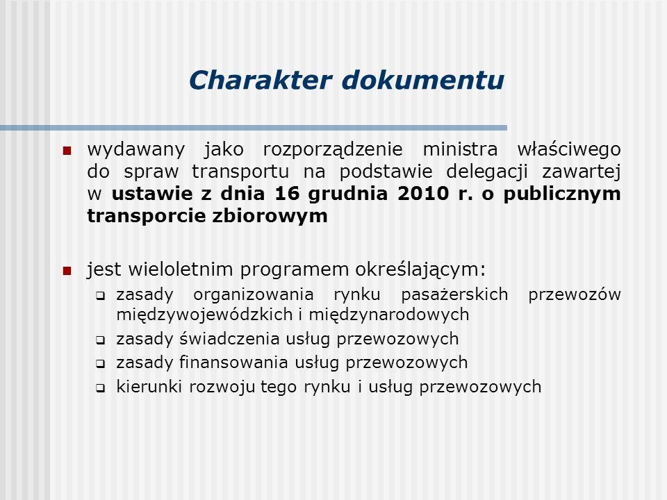 Zakres dotyczy wyłącznie transportu kolejowego punktem wyjścia do opracowania było określenie: stanu obecnego prognozy zapotrzebowania na usługi przewozu prognozy udziału transportu kolejowego w rynku przewozów międzywojewódzkich i międzynarodowych finansowanie przewozów: linie, które mogą być obsługiwane na własne ryzyko handlowe przewoźników źródła i spodziewana wysokość dofinansowania przewozów na pozostałych liniach standardy kolejowych usług przewozowych: wymagania jakościowe system dystrybucji biletów i informacja dla podróżnych