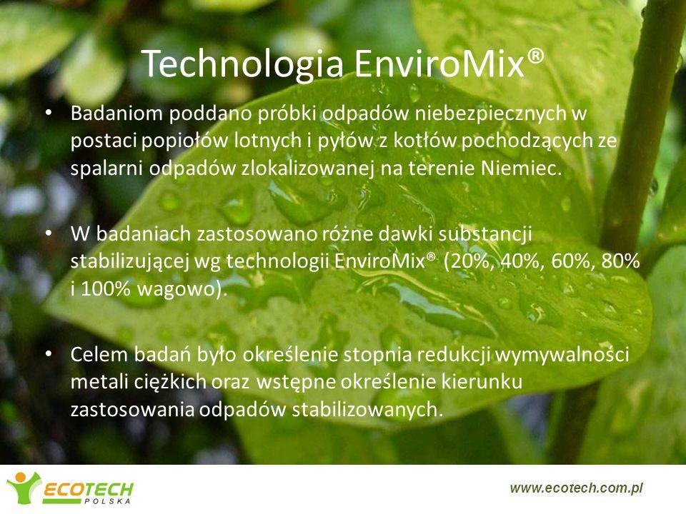 Technologia EnviroMix® Badaniom poddano próbki odpadów niebezpiecznych w postaci popiołów lotnych i pyłów z kotłów pochodzących ze spalarni odpadów zl