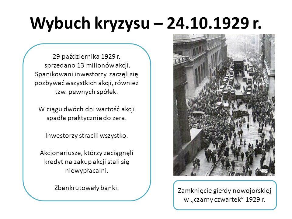 Wybuch kryzysu – 24.10.1929 r. Zamknięcie giełdy nowojorskiej w czarny czwartek 1929 r. 29 października 1929 r. sprzedano 13 milionów akcji. Spanikowa