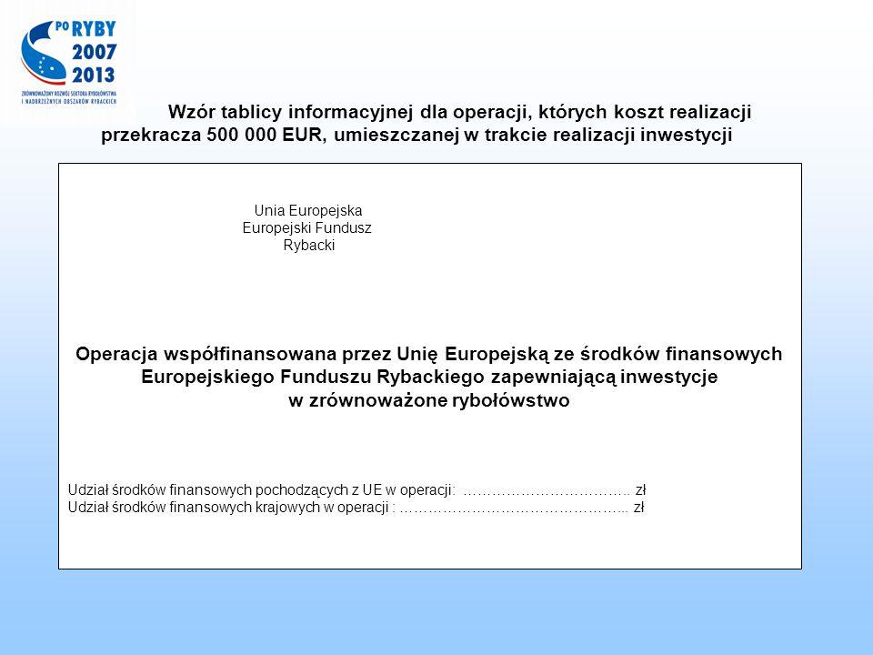 Wzór tablicy informacyjnej dla operacji, których koszt realizacji przekracza 500 000 EUR, umieszczanej w trakcie realizacji inwestycji Unia Europejska