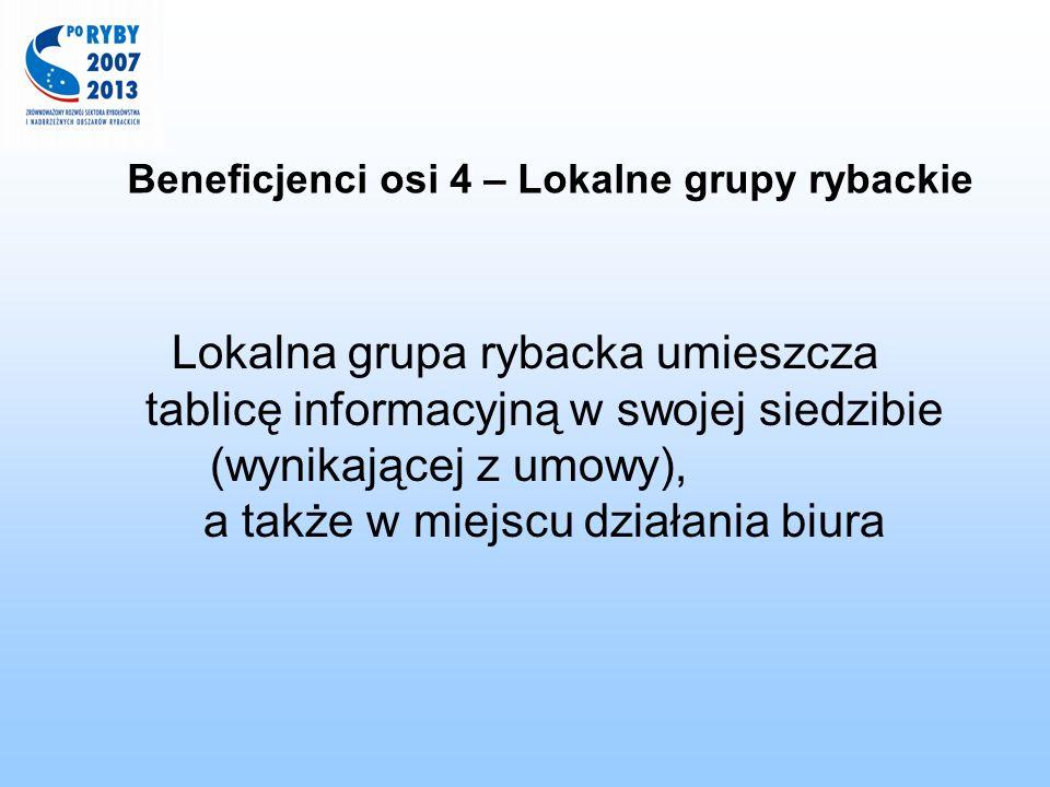 Beneficjenci osi 4 – Lokalne grupy rybackie Lokalna grupa rybacka umieszcza tablicę informacyjną w swojej siedzibie (wynikającej z umowy), a także w m