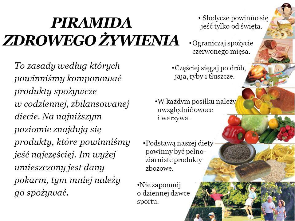 PIRAMIDA ZDROWEGO ŻYWIENIA To zasady według których powinniśmy komponować produkty spożywcze w codziennej, zbilansowanej diecie. Na najniższym poziomi